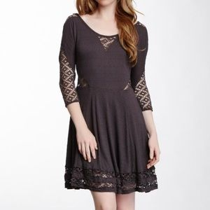 Free People Fit & Flare Black Dress Size Large